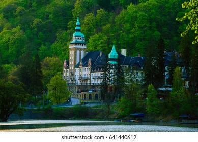 Lillafured palace in Miskolc, Hungary. Lake Hamori in foreground. Travel outdoor hipster landmark background