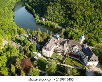LILLAFURED,HUNGARY - MAY 02,2018 : Aerial view to Lillafured Castle. Lillafured is one of the most beautiful natural environments, near Miskolc in the Eastern part of Bukk Mountains, Hungary