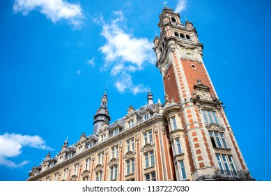 LILLE: Chamber of commerce in Lille in a summer day under the blue sky