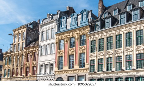 Lille, former facades in the center, beautiful town in the north of France