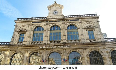Lille / France - 12 26 2018: entrance to building of main railway station in Lille city (Gare Lille Flanders), French Flanders region, northern France, Europe