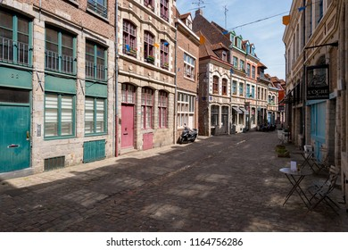Lille, France - 15 June 2018: Paved street Rue des Vieux Murs, located in the historical neighbourhood Vieux Lille