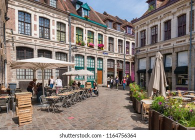"""Lille, France - 15 June 2018: Paved square """"Place des oignons"""", located in the historical neighbourhood Vieux Lille"""