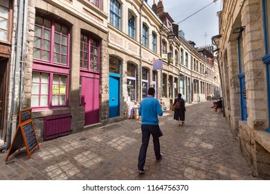 Lille, France - 15 June 2018: Paved street Rue de Pétérinck, located in the historical neighbourhood Vieux Lille