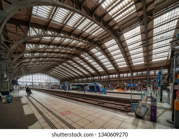 Lille, France. 9th March 2019. People are seen walking through the platforms and concourse of Lille Flandres station in the Northern french City.