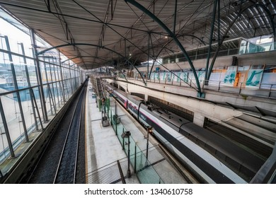 Lille, France. 9th March 2019. People are seen walking through the platforms and concourse of Lille Europe station in the Northern french City.