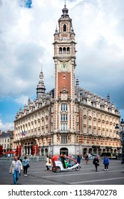 LILLE – FRANCE- AUGUST 25, 2017: Chamber of commerce in Lille. With its clock tower that plays popular songs in the theater square, the Lille Chamber of Commerce is first and foremost a landmark build