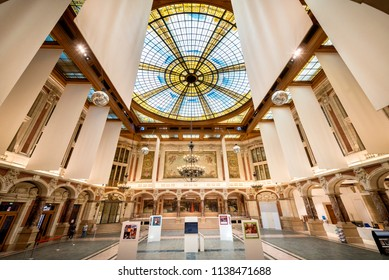 LILLE – FRANCE- AUGUST 25, 2017: Chamber of commerce. With its clock tower that plays popular songs in the theater square, the Lille Chamber of Commerce is first and foremost a landmark build