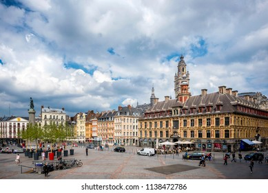 LILLE – FRANCE- AUGUST 25, 2017: Place du General de Gaulle square in front of the old Stock Exchange building in Lille, France