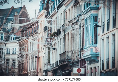 LILLE, FRANCE - January 2, 2018: Daytime view on beautiful architecture on buildings