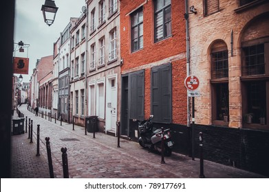 LILLE, FRANCE - January 2, 2018:  A view of the vintage facades in the historic city center