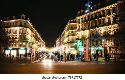 LILLE, FRANCE - January 2, 2018: Night view on the city center with christmas decorations