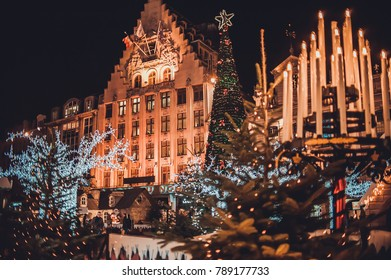 LILLE, FRANCE - January 2, 2018: Christmas decorations in the city center