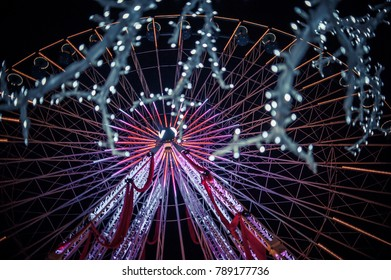 LILLE, FRANCE - January 2, 2018: Beautiful ferris wheel with christmas decorations