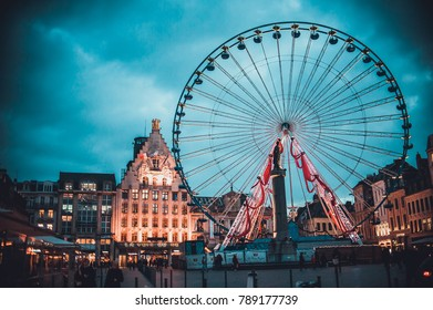 LILLE, FRANCE - January 2, 2018: Ferris wheel with christmas decorations in the city center