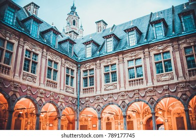 LILLE, FRANCE - January 2, 2018: Night view on beautiful architecture on buildings