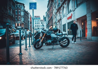 LILLE, FRANCE - January 2, 2018: Motorcycles parked on the vintage streets