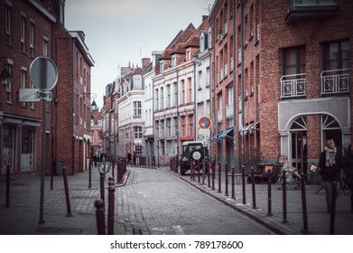 LILLE, FRANCE - January 3, 2018: Daytime view on beautiful architecture on buildings