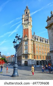 LILLE, FRANCE- JULY 26,2017: Belfry of Industrial and Trade Chamber (Chambre de Commerce et de l'Industrie). Lille, Flanders, France.