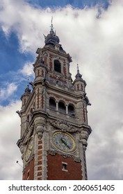 LILLE, FRANCE - JUNE 08, 2014:  Exterior view of the clock tower of the New Chamber of Commerce (Nouvelle Bourse) building