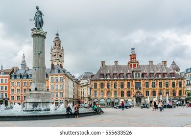LILLE, FRANCE - JUNE 12, 2016: Architecture of the central part of the city.