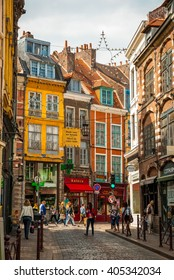 LILLE, FRANCE - JUNE 15: Busy street in Lille downtown in sunny summer day in June 15,2015