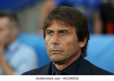 LILLE - FRANCE,  JUNE 2016 :Antonio Conte during  football match  of Euro 2016  in France between  Italy vs Irland at the  Stade Pierre Mauroy  on June 22, 2016 in Lille.