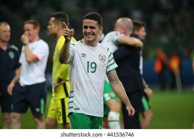 LILLE - FRANCE,  JUNE 2016 : Brady score the gol and celebrates in  football match  of Euro 2016  in France between  Italy vs Irland at the  Stade Pierre Mauroy  on June 22, 2016 in Lille.