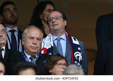 LILLE - FRANCE,  JUNE 2016 :  Hollande in tribune during football match  of Euro 2016  in France between  Switzerland and France at the  Stade Pierre Mauroy  on June 17, 2016 in Lille.
