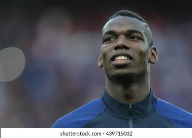 LILLE - FRANCE,  JUNE 2016 : Pogba   in  football match  of Euro 2016  in France between  Switzerland and France at the  Stade Pierre Mauroy  on June 17, 2016 in Lille.