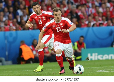 LILLE - FRANCE,  JUNE 2016 :  Shaqiri in action during football match  of Euro 2016  in France between  Switzerland and France at the  Stade Pierre Mauroy  on June 17, 2016 in Lille.