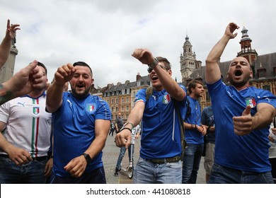LILLE - FRANCE,  JUNE 2016 :  Supporters before the football match  of Euro 2016  in France between  Italy vs Irland at the  Stade Pierre Mauroy  on June 22, 2016 in Lille.