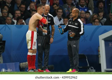 LILLE - FRANCE,  JUNE 2016 : T-shirts of the Swiss tear, during football match  of Euro 2016  in France between  Switzerland and France at the  Stade Pierre Mauroy  on June 17, 2016 in Lille.
