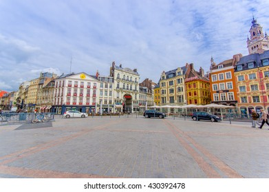 Lille, France - June 3, 2015: Beautiful Place Grande with its charming buildings and traditional european architecture sorrounding the plaza on a nice summer day
