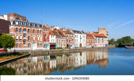 LILLE, FRANCE - MAY 2018. Old houses located at the Wault quay near the citadel of Lille.