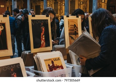 LILLE, FRANCE - NOVEMBER 11, 2017: Second hand book market in the courtyard of the Vieille Bourse (old stock exchange) in Lille, France. The market is hugely popular with tourists and residents.