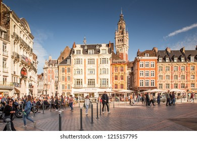 LILLE, FRANCE, OCTOBER 20, 2018. Visiting the city of Lille walking in General De Gaulle square with a view of the tower of the chamber of commerce