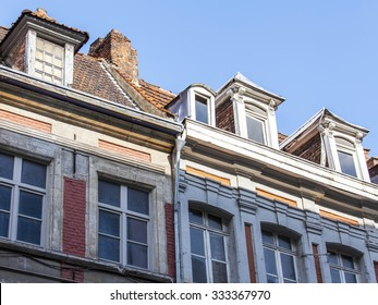 LILLE, FRANCE, on AUGUST 28, 2015. Architectural details of typical buildings