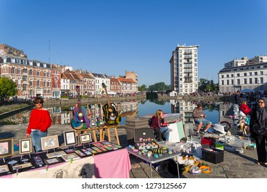 Lille, France - September 1, 2018: The traditional annual flea market in Lille (the first weekend of September) - Braderie de Lille.