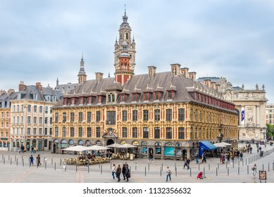 LILLE,FRANCE - MAY 19,2018 - Building of Bourse at the Grand place in Lille. Lille  is a city at the northern tip of France, in French Flanders.