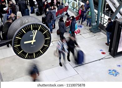 Lille,France Nov. 19, 2016.Passengers walk on a platform after a commuter train arrived at Gare de Lille railway station.