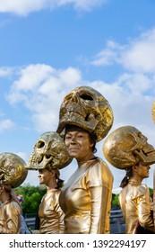 "Lille,FRANCE-May 04,2019: Women in carnival costumes, the mexican tradition on the Eldorado lille 3000 parade.Parade Eldorado lille 3000 inspired by processions and customs: ""El Dia de Los Muertos"""