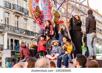 """Lille,FRANCE-May 04,2019:Grand parade Eldorado lille 3000.Parade Eldorado lille 3000 inspired by great festivals, processions and customs: """"El Dia de Los Muertos"""""""