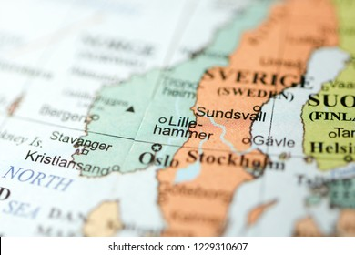 Lillehammer. Europe on a geography map