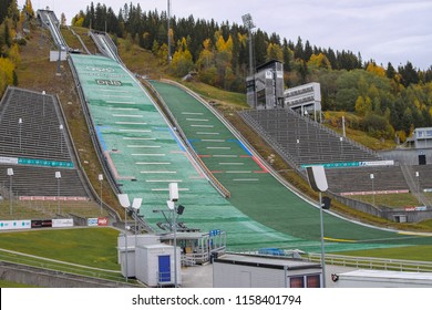 Lillehammer, Norway - 2016-10-09 : Empty green ski jump use in the 1994 Winter Olympics in Lillehammer, Norway