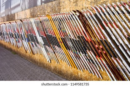 Lillehammer, Norway - Aug. 5, 2018: Wall decorated with skis, Lillehammer, Norway.