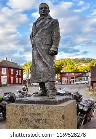 Lillehammer, Norway - Aug. 5, 2018: Statue of Ludvig Wiese (1792-1853), a Norwegian merchant and politician. He was chosen as Lillehammer's first mayor in 1838.