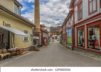 LILLEHAMMER, NORWAY - AUGUST 01, 2016: Lillehammer alternative shopping street cityscape. Lillehammer is the center of winter sports. It hosted the 1994 Winter Olympics and 2016 Winter Youth Olympics