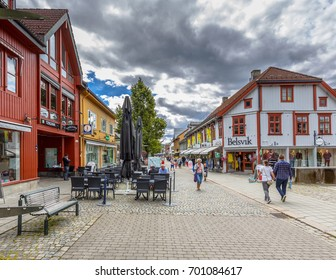 LILLEHAMMER, NORWAY - AUGUST 01, 2016: Lillehammer commercial shopping mall cityscape. Lillehammer is the center of winter sports. It hosted the 1994 Winter Olympics and the 2016 Winter Youth Olympics
