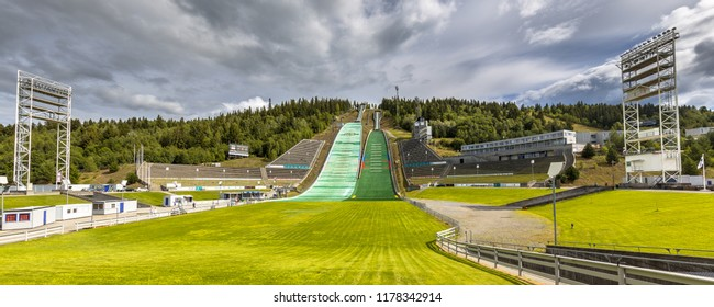 LILLEHAMMER, NORWAY - AUGUST 2, 2016: Ski jump stadium near Oslo, known as Lysgardsbakken, opened in 1993, specifically to the XVII Olympic Winter Games in 1994. Now the centre winter sports in Norway